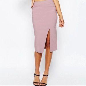 ASOS dusky pink midi skirt stretchy! US 4